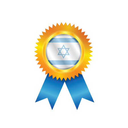 Gold medal with the national flag of Israel Illustration