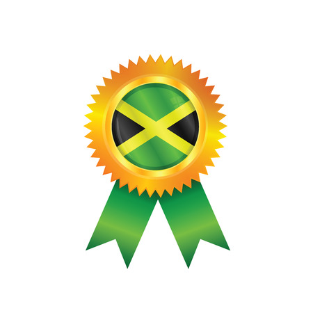 Gold medal with the national flag of Jamaica