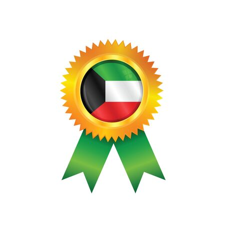 Gold medal with the national flag of Kuwait Vector