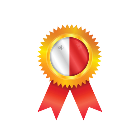 malta: Gouden medaille met de nationale vlag van Malta