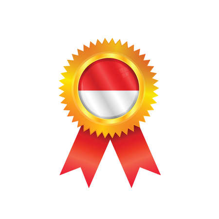 Gold medal with the national flag of Monaco Vector