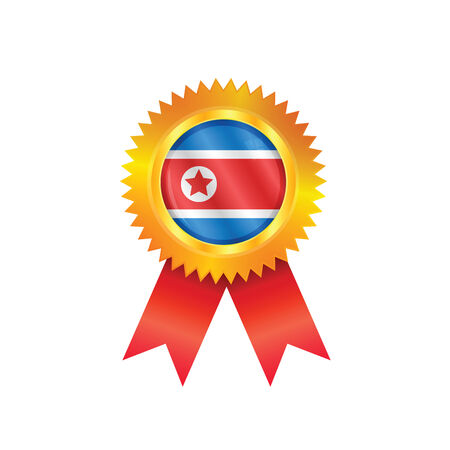 Gold medal with the national flag of North Korea Vector