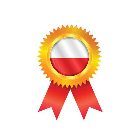 M�daille d'or avec le drapeau national de la Pologne