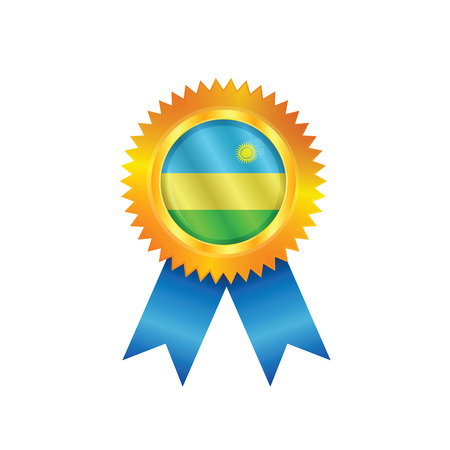 rwanda: Gold medal with the national flag of Rwanda