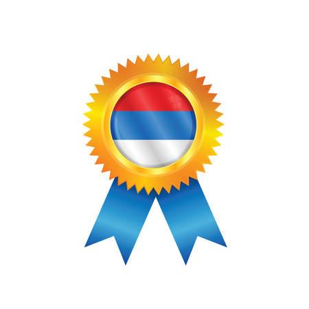 serbien: Goldmedaille mit der Nationalflagge von Serbien Illustration