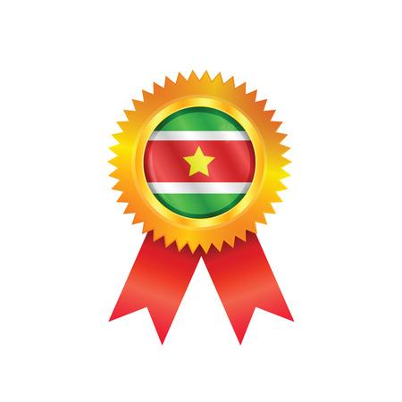 M�daille d'or avec le drapeau national du Suriname