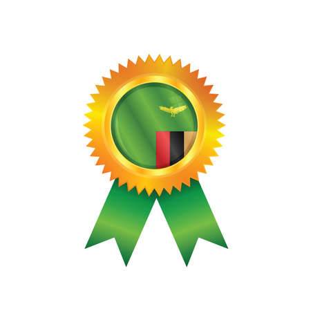zambia: Gold medal with the national flag of Zambia