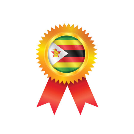 Gold medal with the national flag of Zimbabwe Vector
