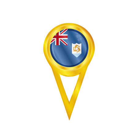 anguilla: Gold pin with the national flag of Anguilla