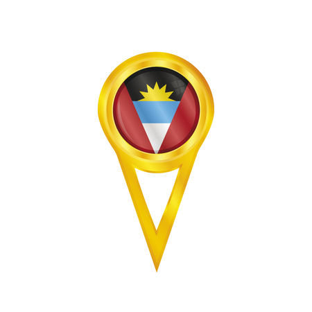 antigua: Gold pin with the national flag of Antigua & Barbuda