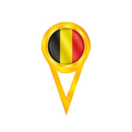 broche en or avec le drapeau national de la Belgique
