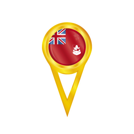 bermuda: Gold pin with the national flag of Bermuda