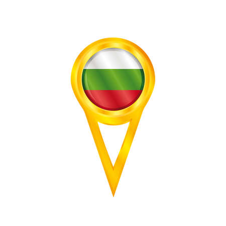 Gold pin with the national flag of Bulgaria Vector