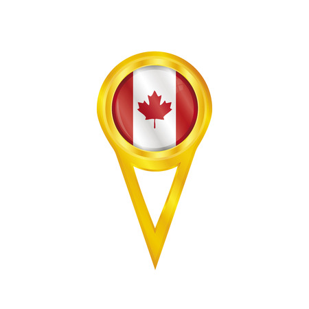 Gold pin with the national flag of Canada Vector