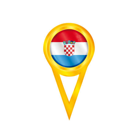 Gold pin with the national flag of Croatia Vector
