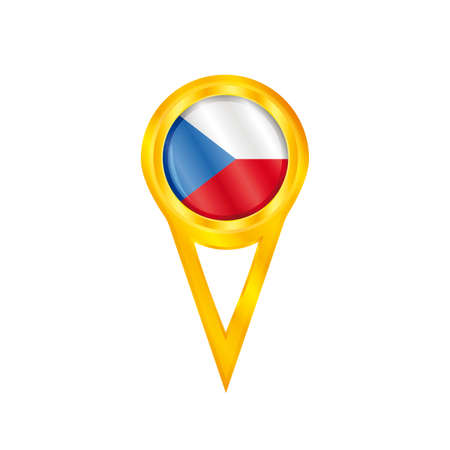 land mark: Gold pin with the national flag of Czech