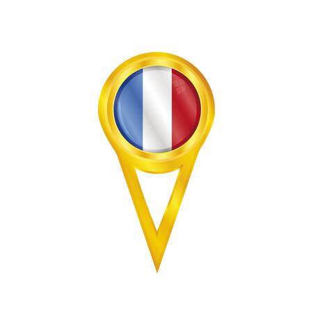 broche en or avec le drapeau national de la France Illustration