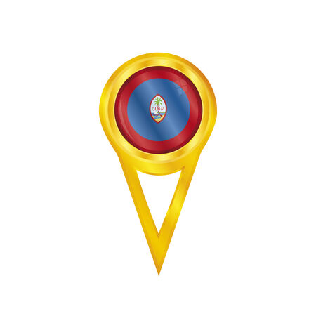 guam: Gold pin with the national flag of Guam Illustration