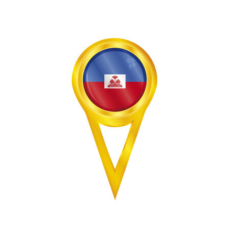 broche en or avec le drapeau national d'Ha�ti