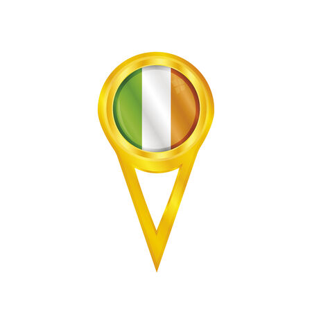 irish pride: Gold pin with the national flag of Ireland