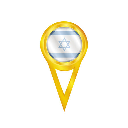 Gold pin with the national flag of Israel Vector