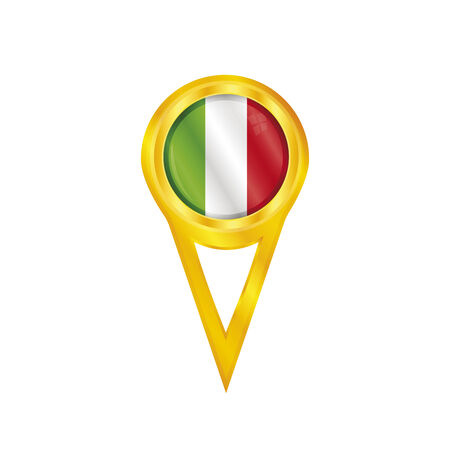 Gold pin with the national flag of Italy Vector