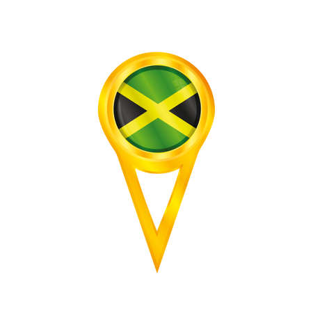 Gold pin with the national flag of Jamaica Stock Vector - 23400645
