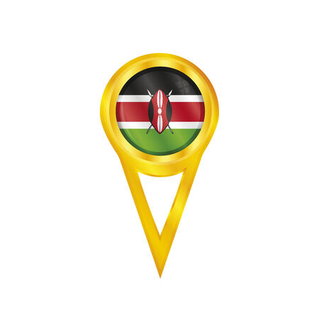 land mark: Gold pin with the national flag of Kenya