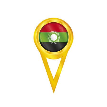 broche en or avec le drapeau national du Malawi