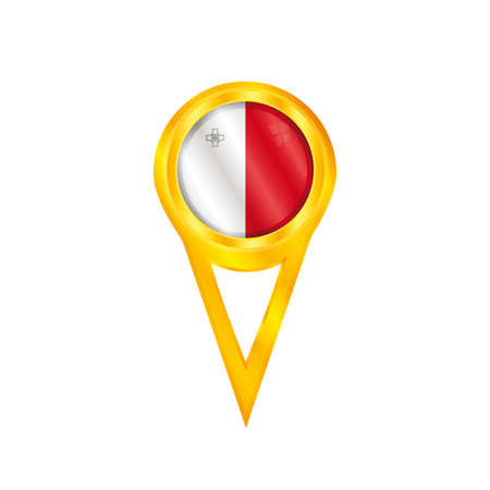 malta flag: Gold pin with the national flag of Malta Illustration