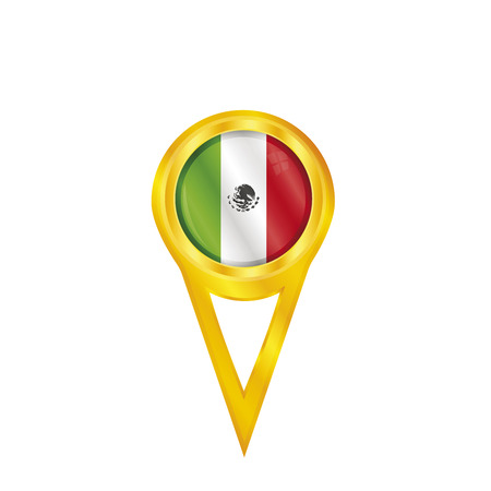 Gold pin with the national flag of Mexico