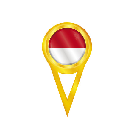 Gold pin with the national flag of Monaco Vector