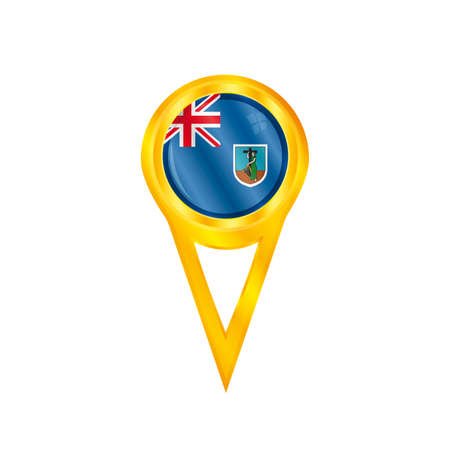 montserrat: Gold pin with the national flag of Montserrat