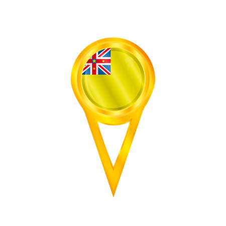 niue: Gold pin with the national flag of Niue Illustration