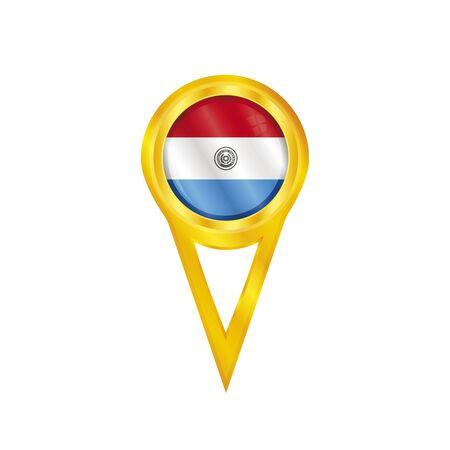 broche en or avec le drapeau national du Paraguay