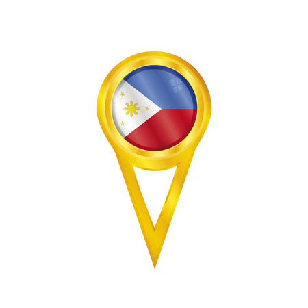 Gold pin with the national flag of Philippines