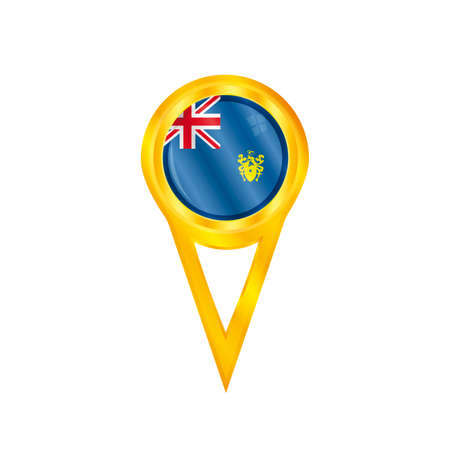 pitcairn: Gold pin with the national flag of Pitcairn Islands Illustration