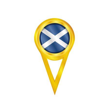 broche en or avec le drapeau national de l'Ecosse