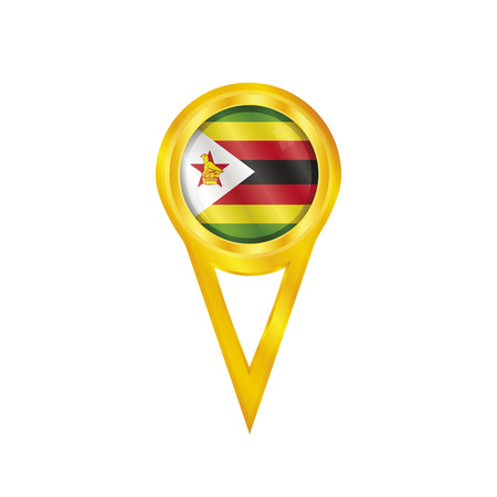 Gold pin with the national flag of Zimbabwe Vector