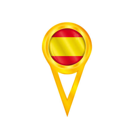 Gold pin with the national flag of Spain Illustration