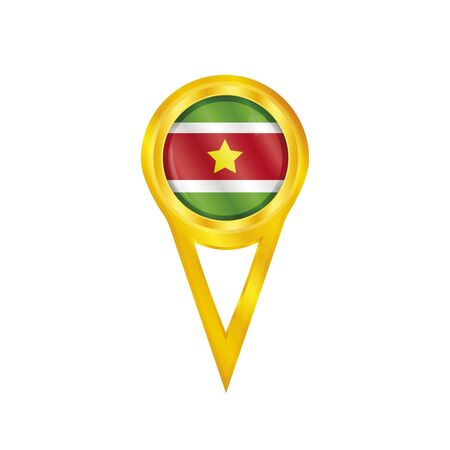 suriname: Gold pin with the national flag of Suriname