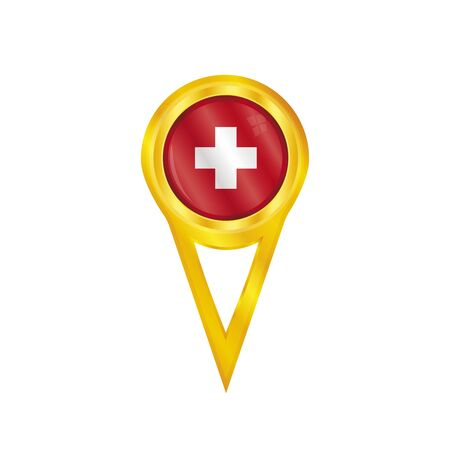 schweiz: Gold pin with the national flag of Switzerland