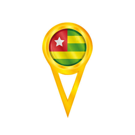 togo: Gold pin with the national flag of Togo