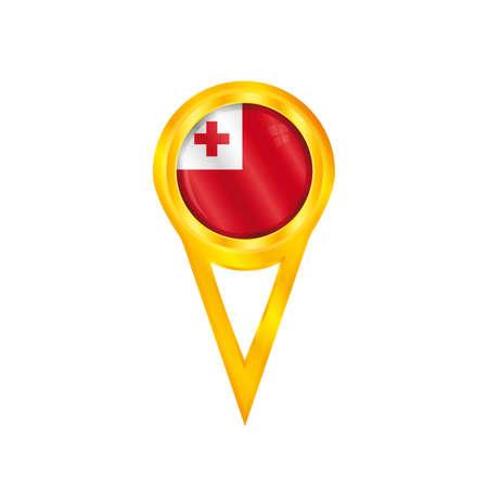 tonga: Gold pin with the national flag of Tonga Illustration