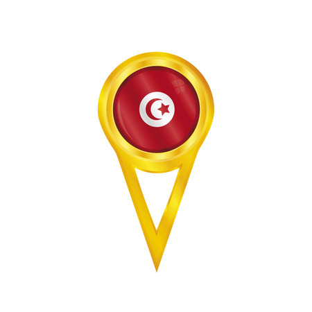 land mark: Gold pin with the national flag of Tunisia