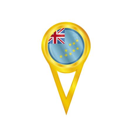 broche en or avec le drapeau national de Tuvalu