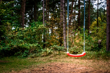 Childrens playground swing in the middle of the forest photo