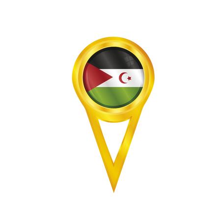 broche en or avec le drapeau national du Sahara occidental Banque d'images