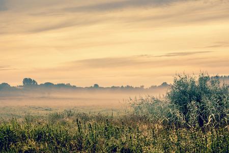 Lever de soleil sur un paysage brumeux du paysage Banque d'images
