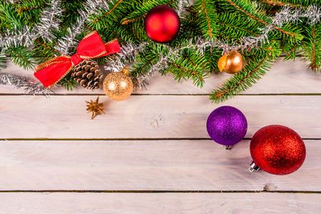 Christmas decoration on wooden planks photo
